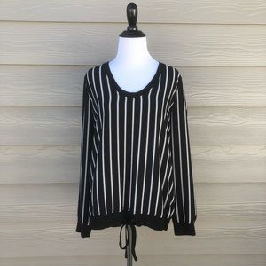 Tops - Harlow & Graham Black White Striped Blouse Sz S